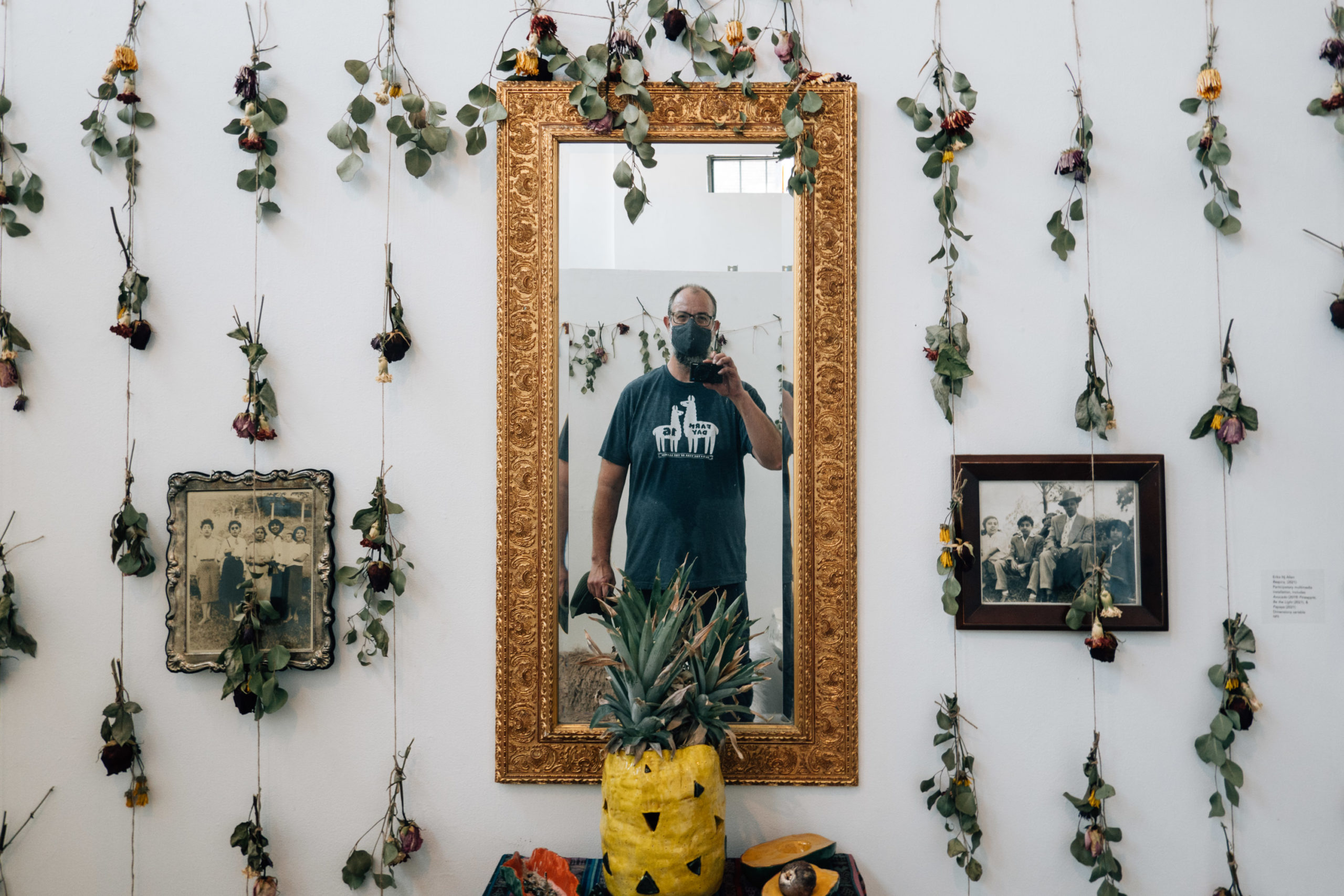 A balding bearded man takes a selfie in a mirror set in an art gallery surrounded by dried flowers