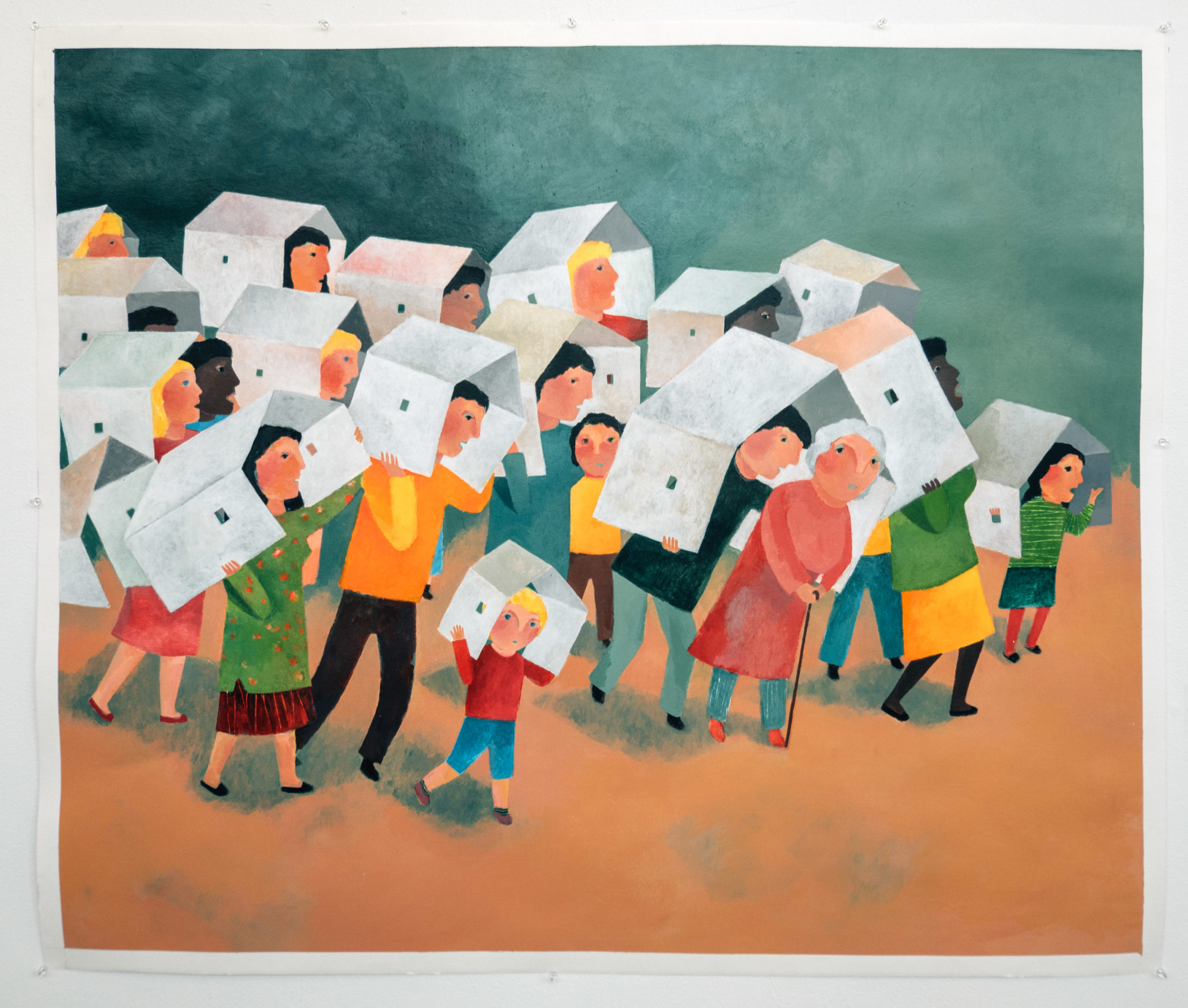 A painting of colorful people holding shapes that resemble houses over their head
