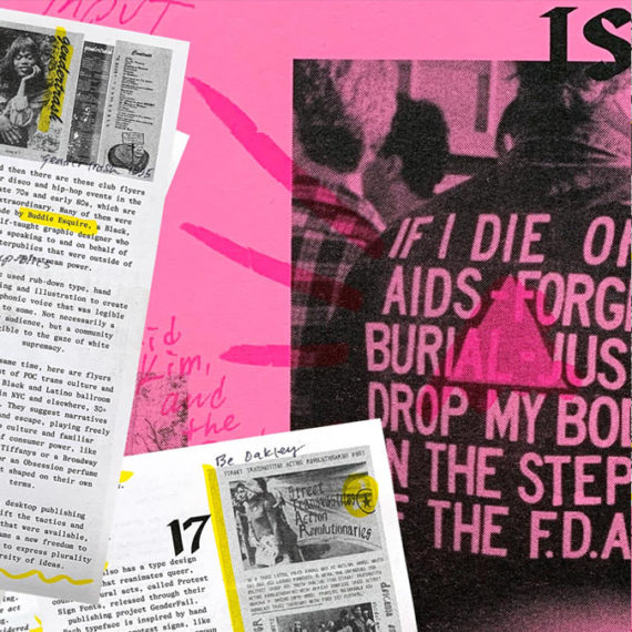 A zine about queer typography set in bright colors