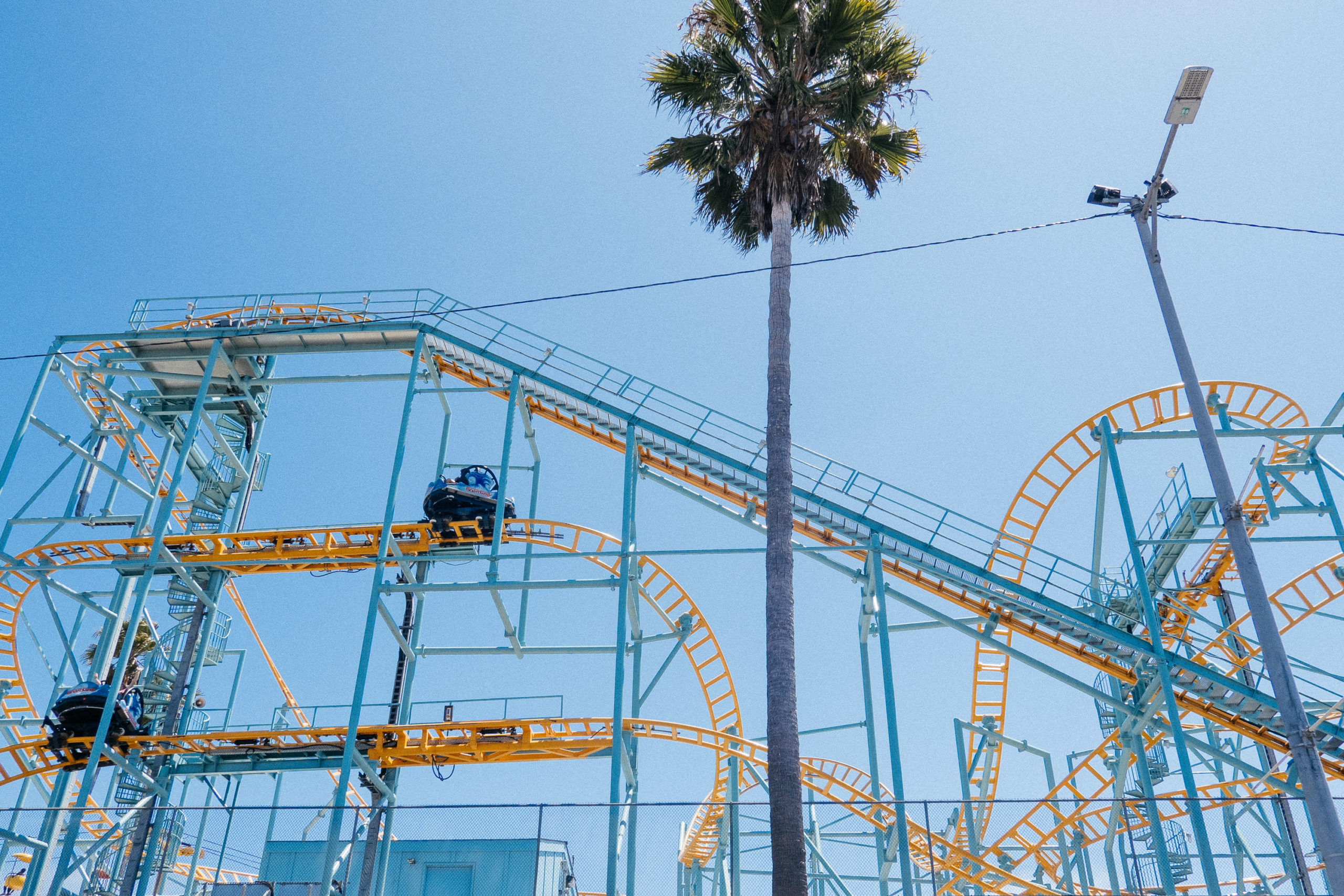A teal and yellow metal framed roller coaster against a blue sky and a single palm tree