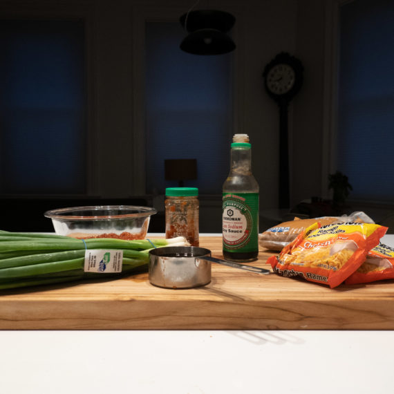 Ingredients on a butcher block to make dragon noodles