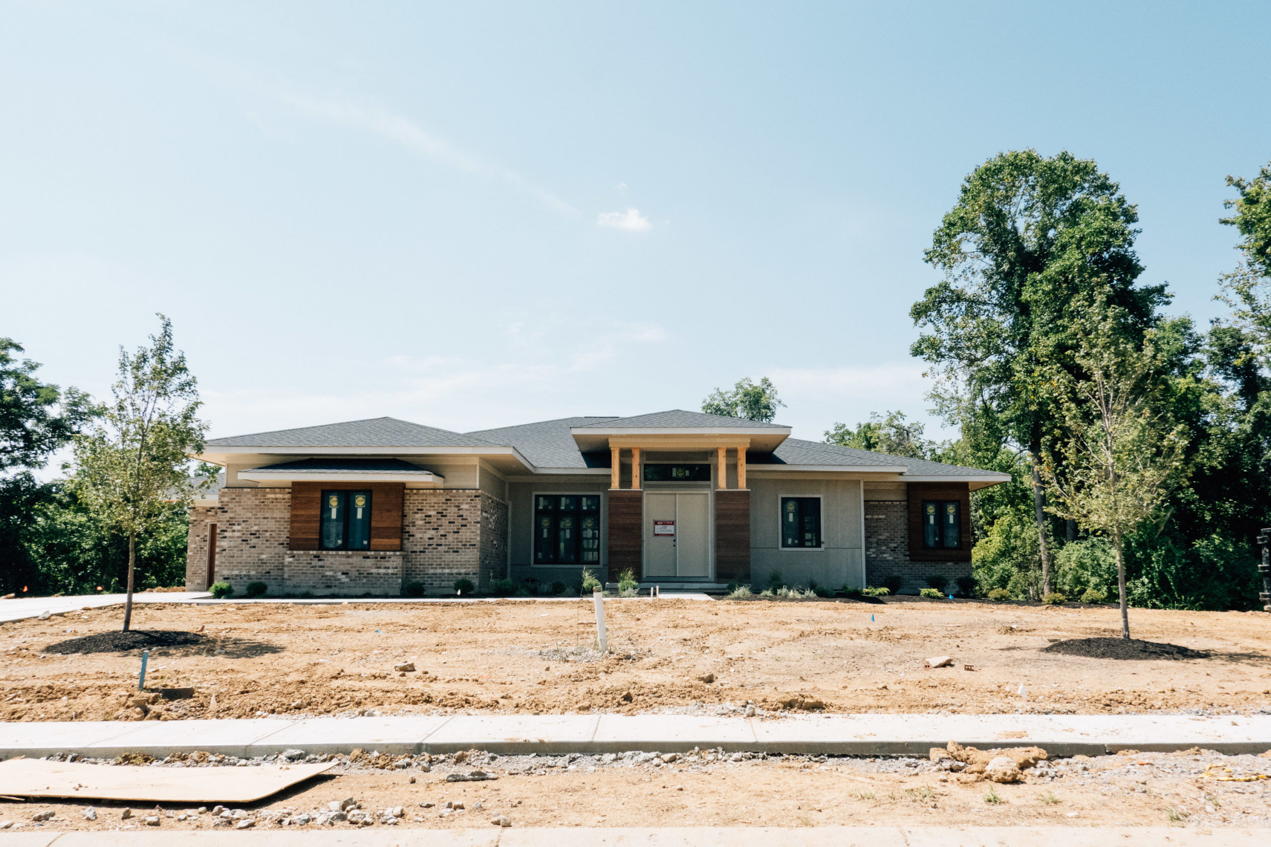A large ranch house under construction