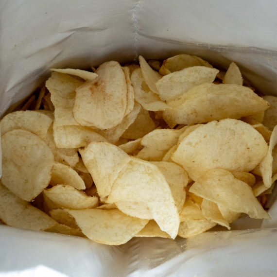 Looking down into a bag of chips