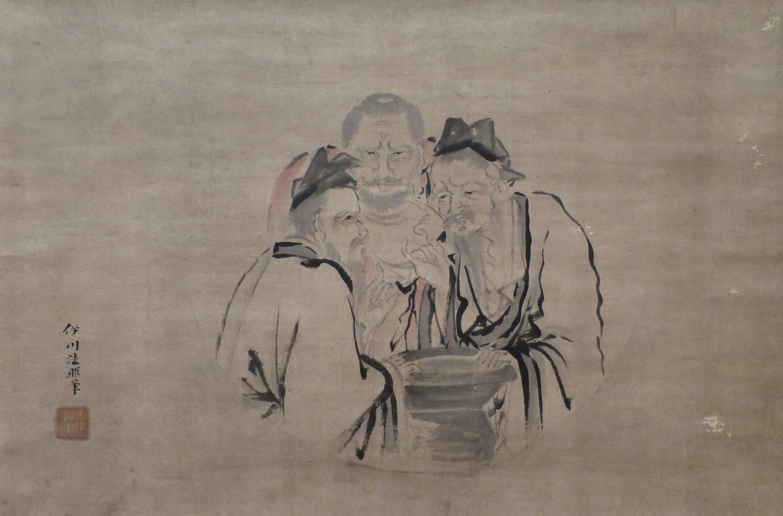 An ink drawing of men tasting vinegar