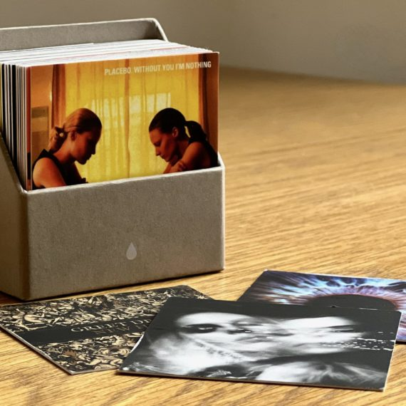 Small record covers printed out on square Moo cards