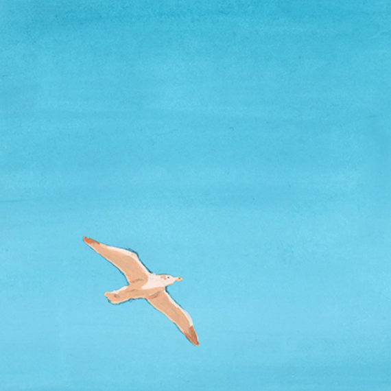 A drawing of a bird on a clear blue sky