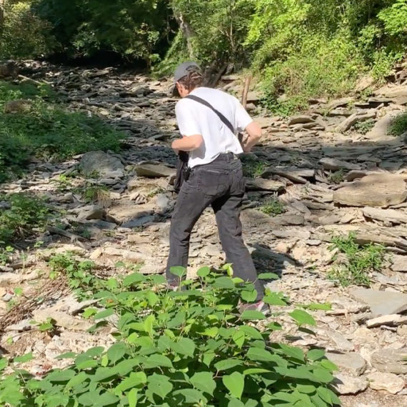 A woman walks along a creekbed looking for fossils