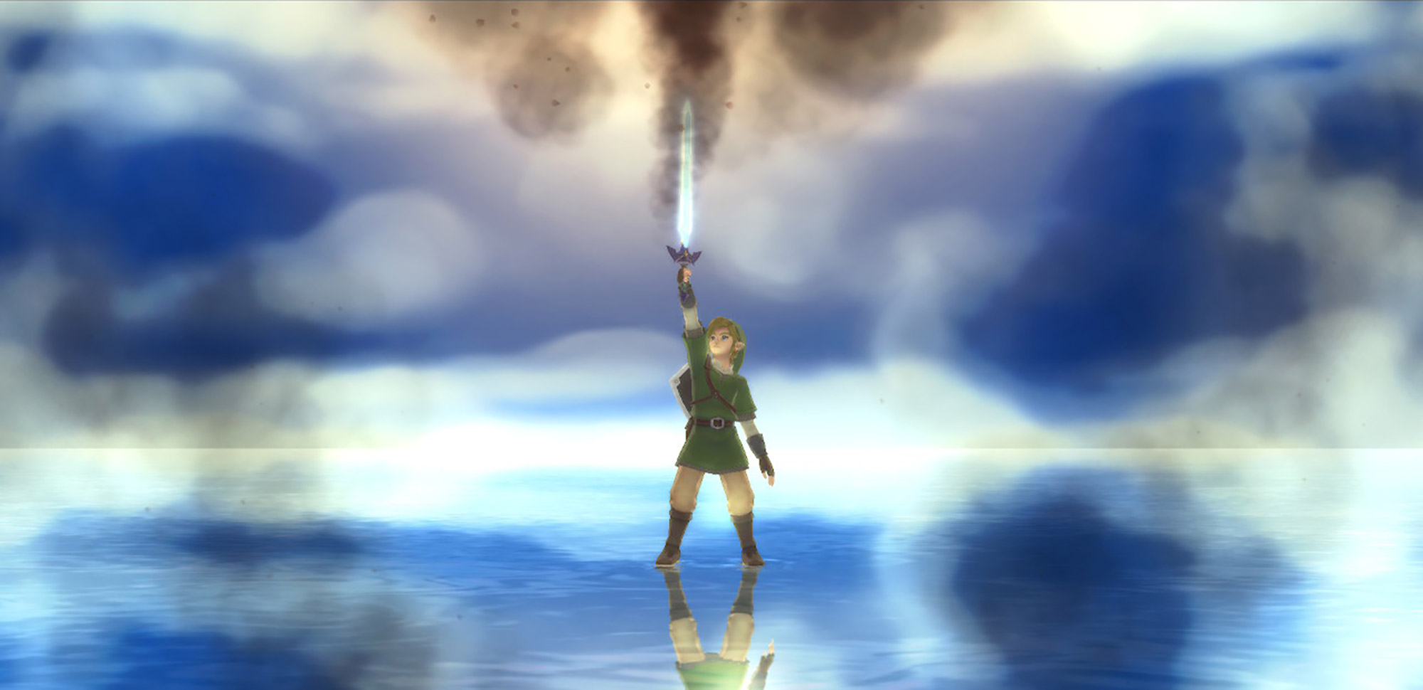 The videogame character Link holds up a sword