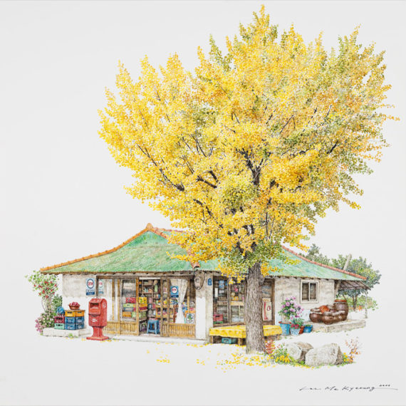 A painting of a Korean corner store